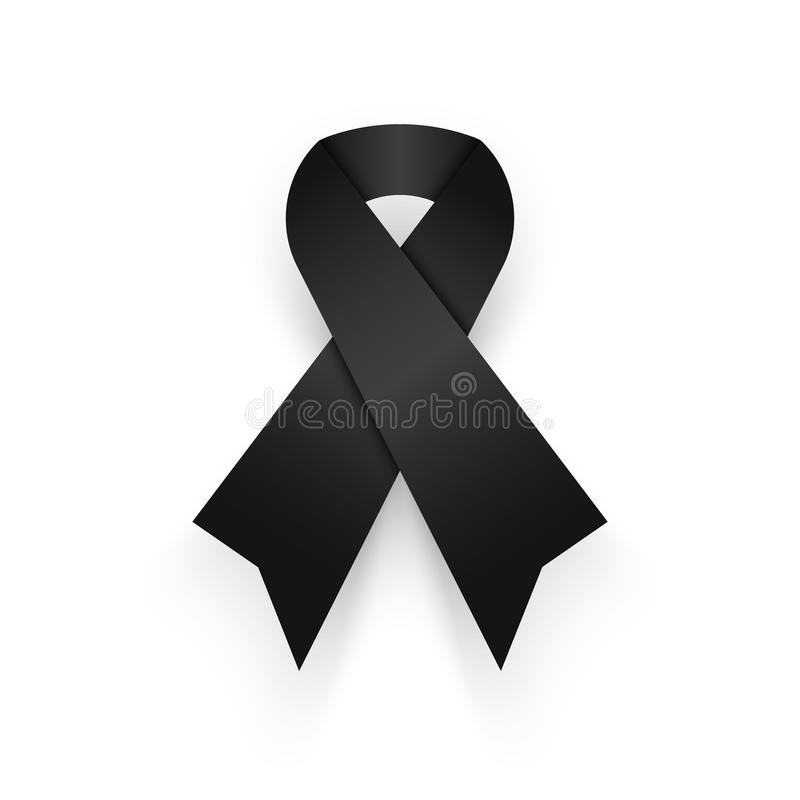 Black ribbon on white background . mourn for king of thailand pass away . rest in peace . royalty free illustration