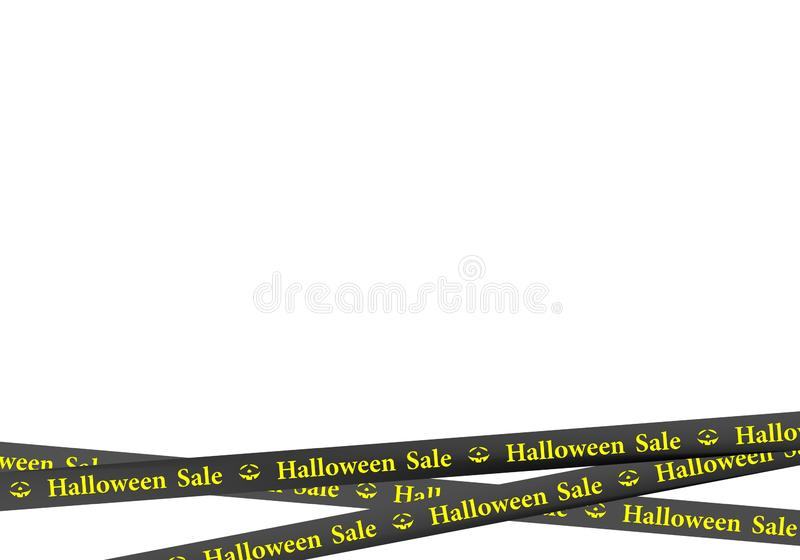 Red ribbons down with yellow lettering halloween sale, pumpkin and stripes indicating sales place on a white background. Warning a. Black ribbons down with royalty free illustration