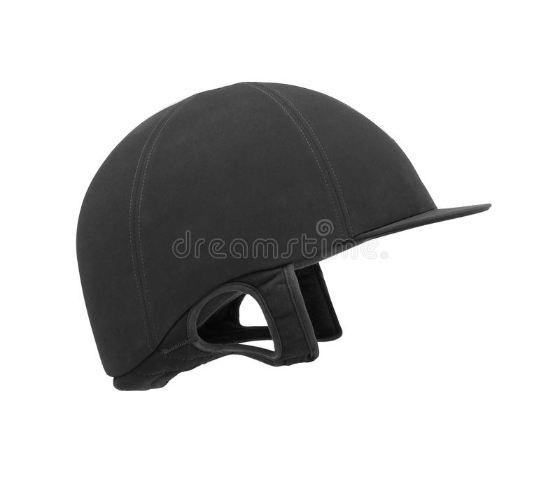 Black ridding cap for horse riders. On white royalty free stock photo