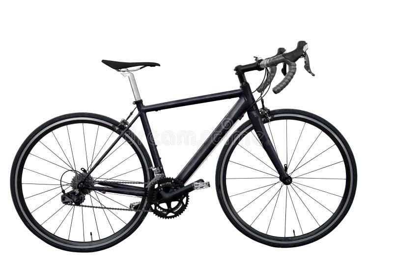 Black road bike isolated on white background isolated. Black road bike/bicycle on white background isolated stock images