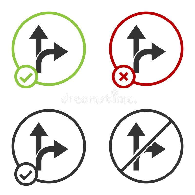Black Road traffic sign. Signpost icon isolated on white background. Pointer symbol. Isolated street information sign. Direction sign. Circle button. Vector vector illustration