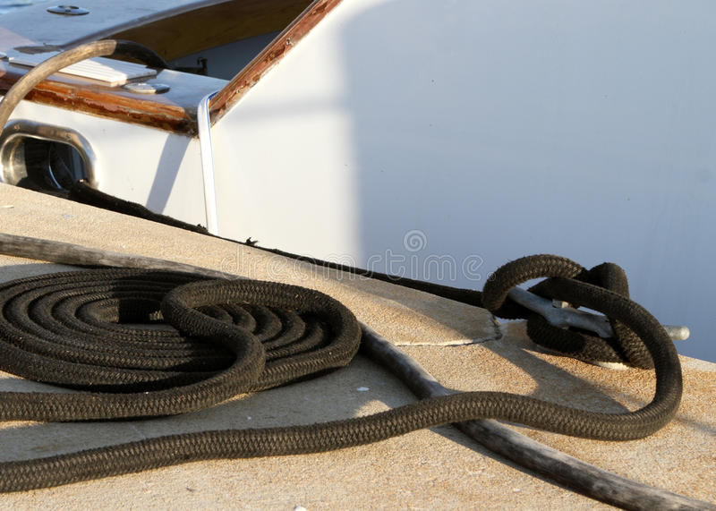 Download Black roap on cleat stock image. Image of vessel, commercial - 16600145