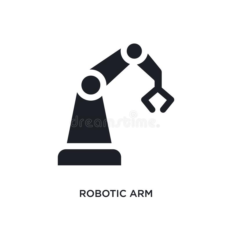 black robotic arm isolated vector icon. simple element illustration from industry concept vector icons. robotic arm editable logo vector illustration