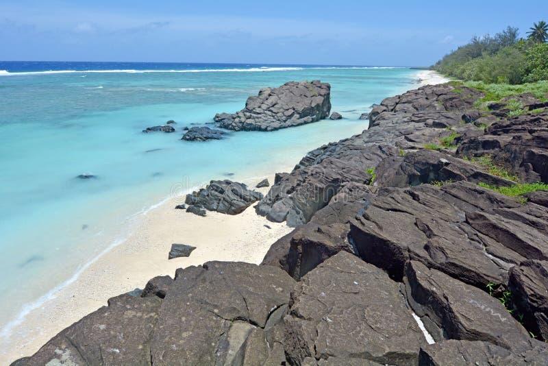 Black Rock Rarotonga Cook Islands royalty free stock photo
