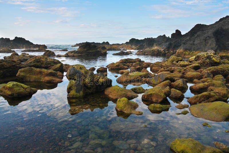 Black Rocky volcanic coastline, Pico island, Azore. S, Atlantic ocean stock images