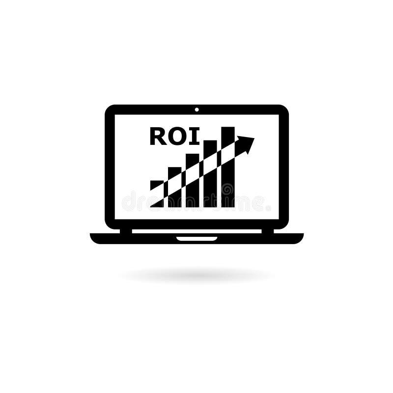 Black ROI concept icon or logo. On white vector illustration