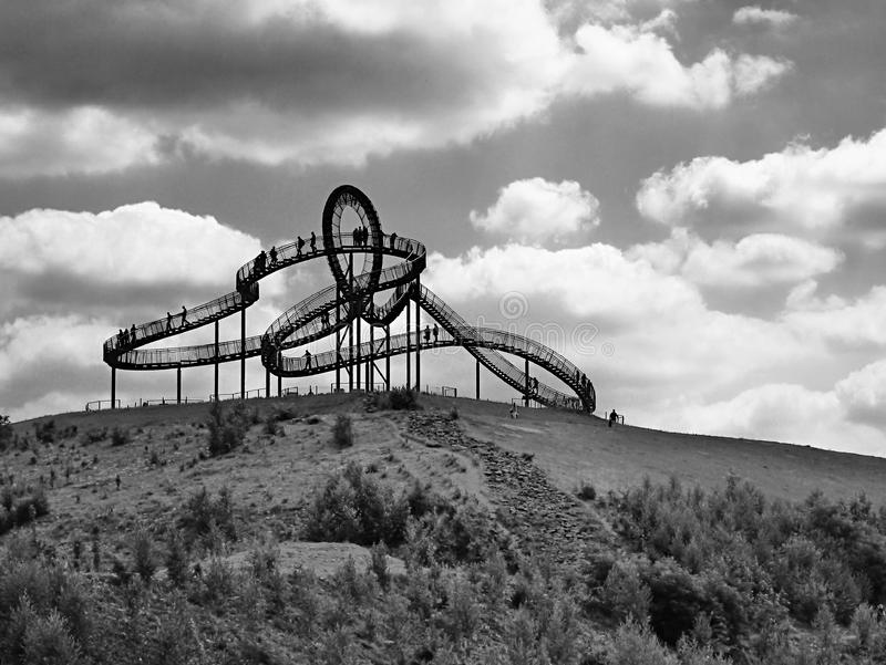 Black Roller Coaster in Grey Scale Photography royalty free stock image