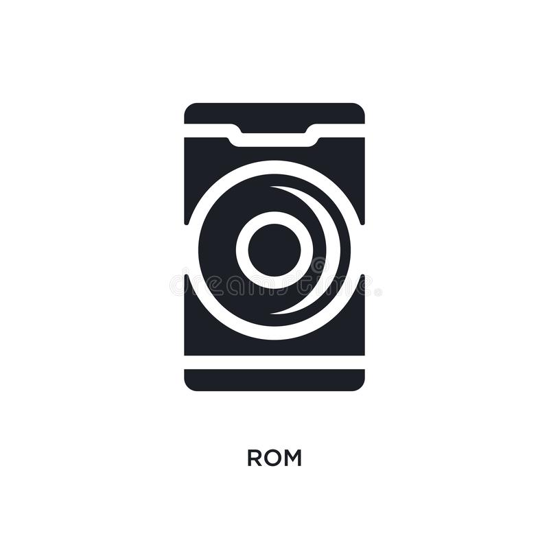 Black rom isolated vector icon. simple element illustration from mobile app concept vector icons. rom editable logo symbol design. On white background. can be royalty free illustration