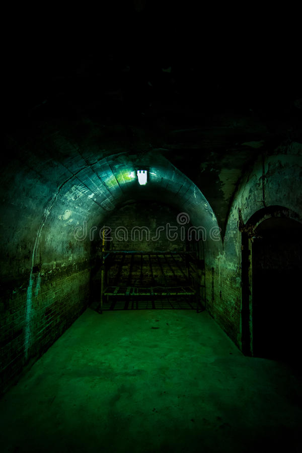 Black room entrance, Fort 13, Romania stock photo