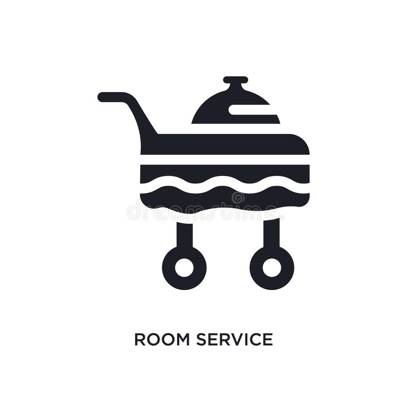 Black room service isolated vector icon. simple element illustration from hotel concept vector icons. room service editable logo. Symbol design on white stock illustration
