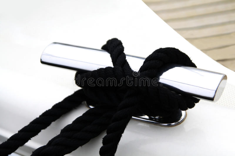 Black Rope On The Shiny Cleat Royalty Free Stock Photos
