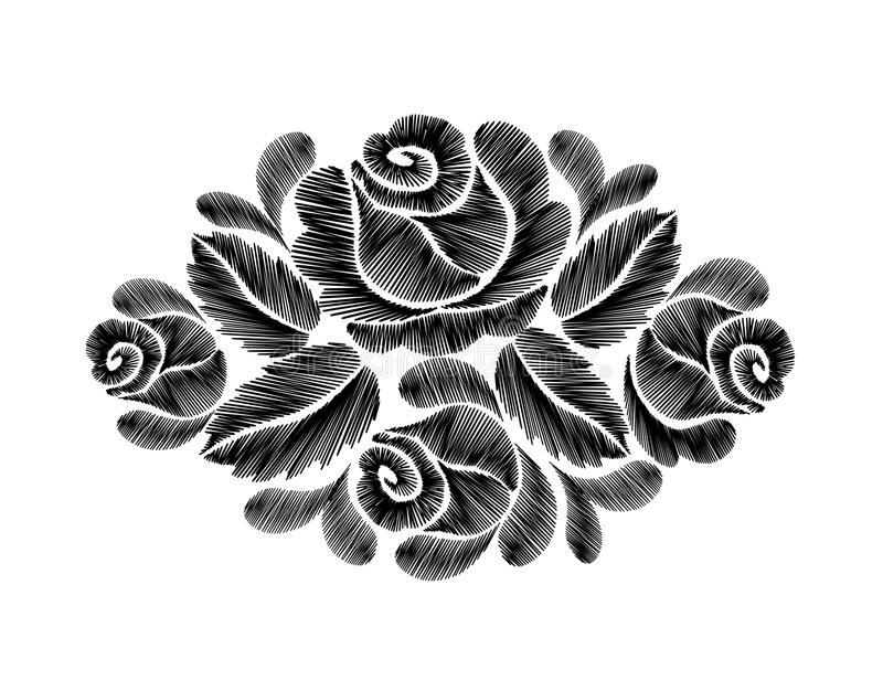 Black Line Flower Drawing : Flowers in field black and white growing