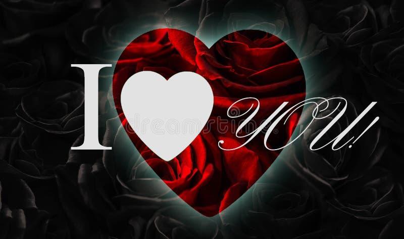 black roses heart isolated black background greeting card heart i love you red black roses heart i love 138784924