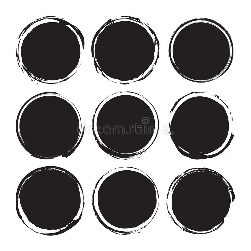 Black round abstract backgrounds smears vector objects isolated on a white background. Grunge shapes. Circle frames royalty free illustration