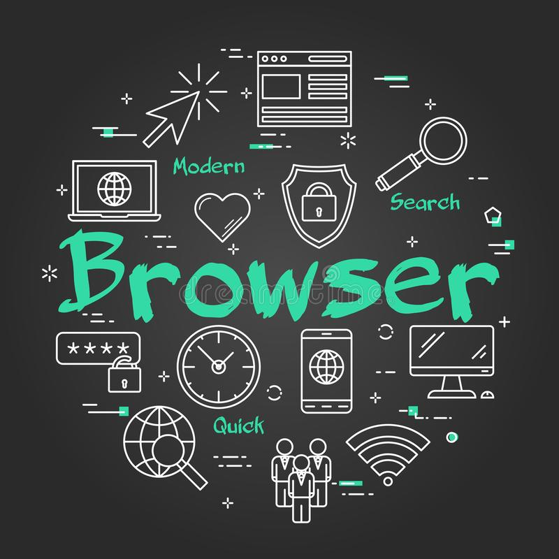 Black round Browser concept royalty free illustration