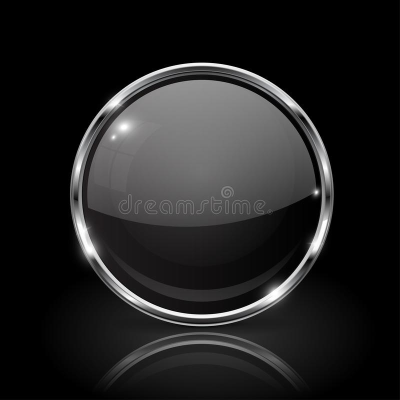 Black round glass button. 3d icon with metal frame royalty free illustration