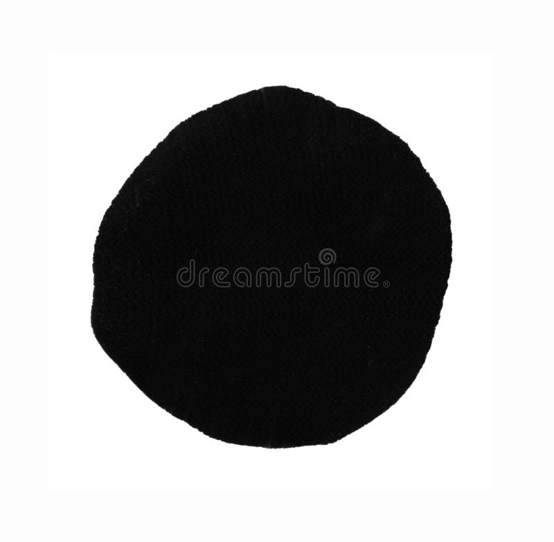 Black round hand painted ink blob circle. Design element royalty free stock photo