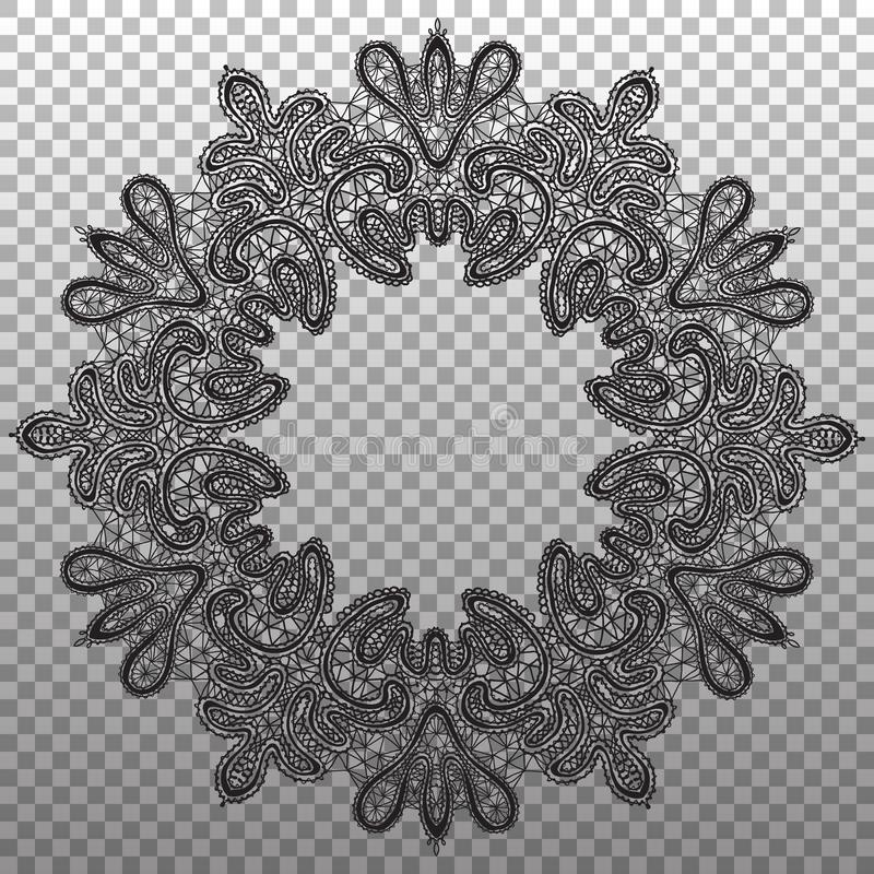 Black round napkin lace. Vector isolated ornament texture.  vector illustration