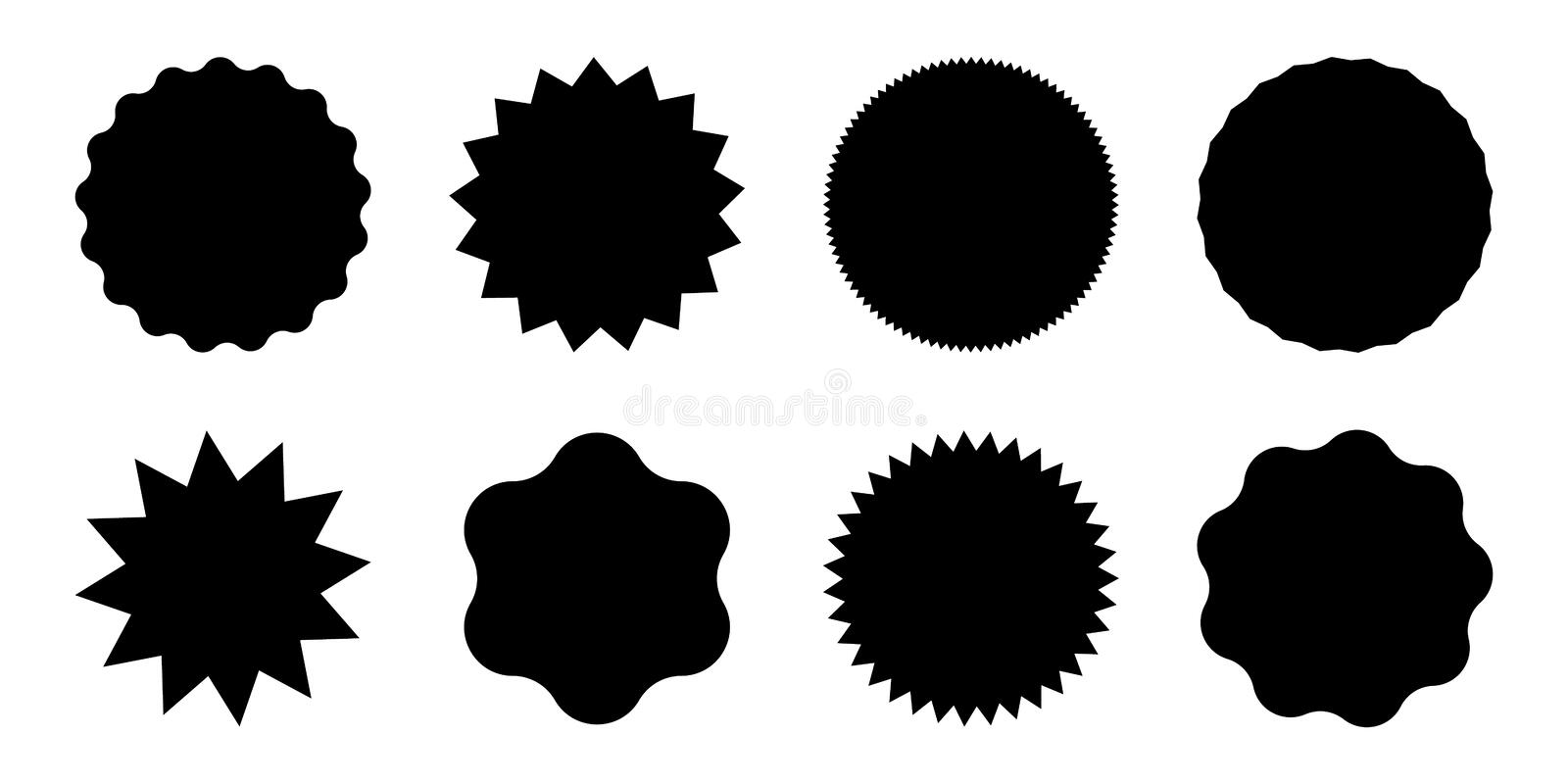 Black round sale tags with spikes. Simple sun icons set.  stock illustration