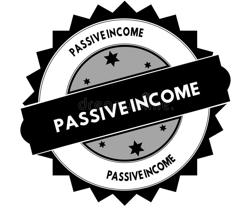Black round stamp with PASSIVE INCOME text. royalty free illustration