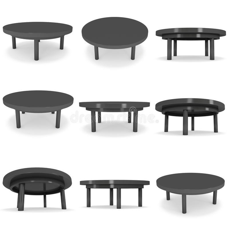 Black Round Table 3D. Black Round Table Set. 3D render isolated on white. Platform or Stand Illustration. Template for Object Presentation vector illustration