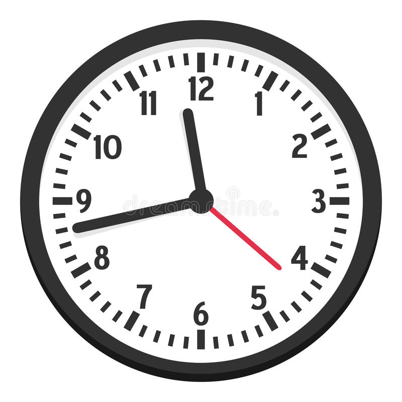Black Wall Clock Flat Icon Isolated on White royalty free illustration