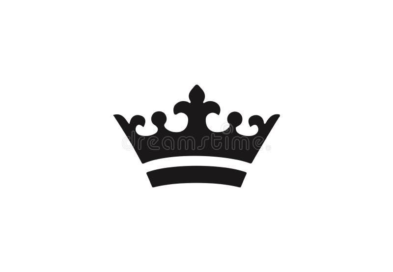Black royal crown icon. stock image