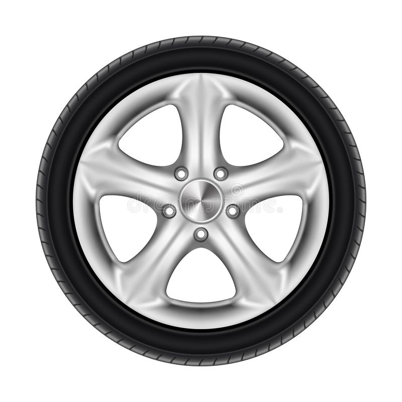 Free Black Rubber Car Wheel, Tyre, Tire With Star Disk Stock Image - 159452511