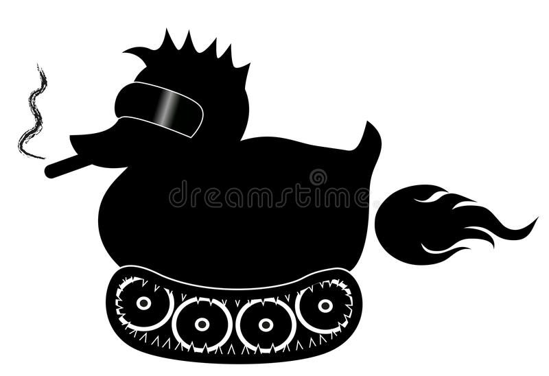 Black rubber duck with cool sunglasses and cigar, on tracks moovement. Farting. Black rubber duck with cool sunglasses and cigar, on tracks moovement. Bad toy royalty free illustration