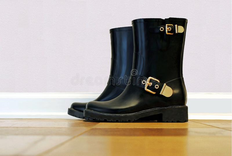 Black Rubber Rain Boots with Gold Buckles. On the floor with pink wall background stock photography
