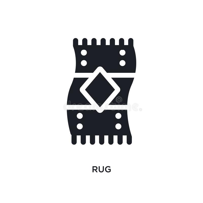 black rug isolated vector icon. simple element illustration from furniture & household concept vector icons. rug editable black stock illustration