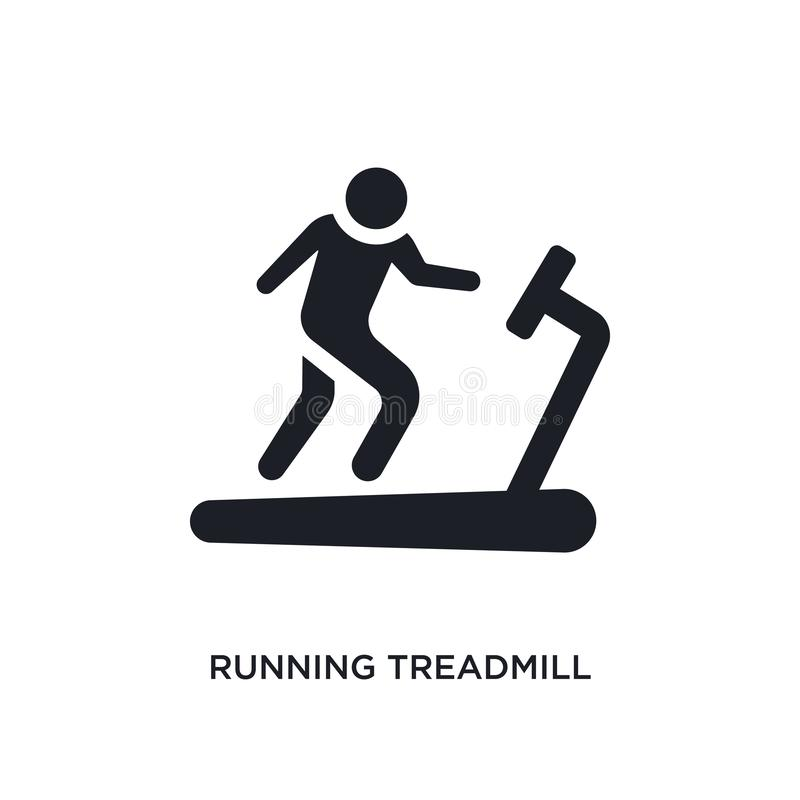 Black running treadmill isolated vector icon. simple element illustration from gym and fitness concept vector icons. running. Treadmill editable logo symbol stock illustration