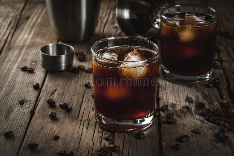 Black Russian cocktail with vodka and coffee liquor stock image