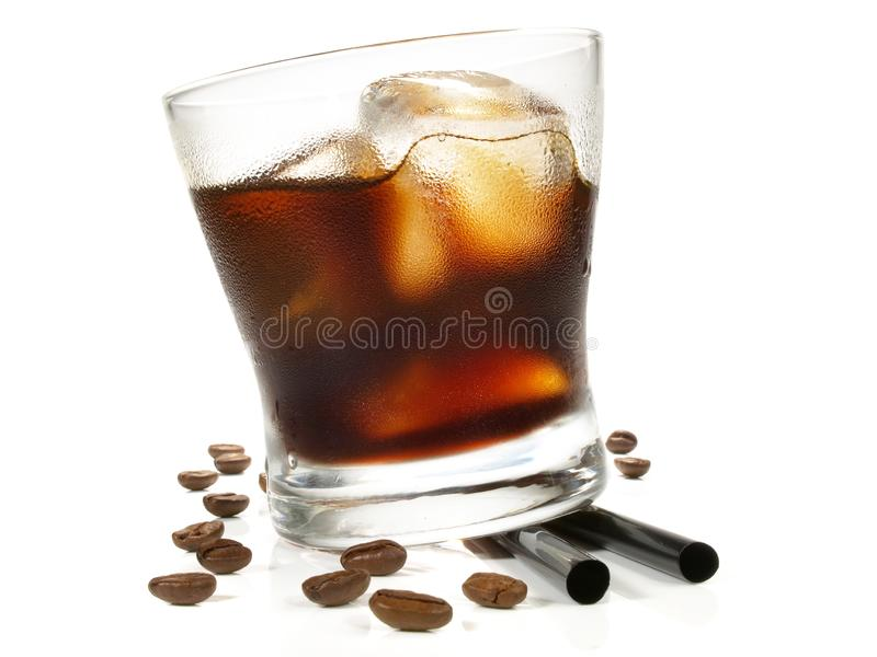 Black Russian Cocktail on white Background stock images