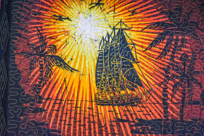 Sailing Ship Sunset Abstract Quilt Design royalty free stock photo