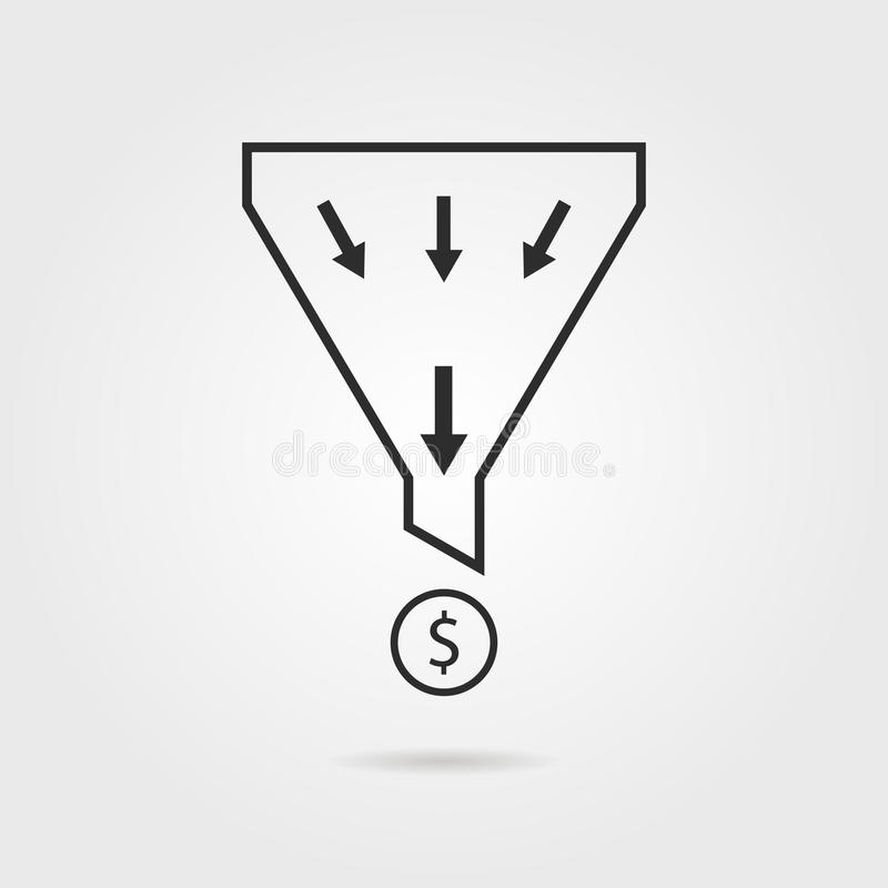 Black sales funnel with coin and shadow vector illustration