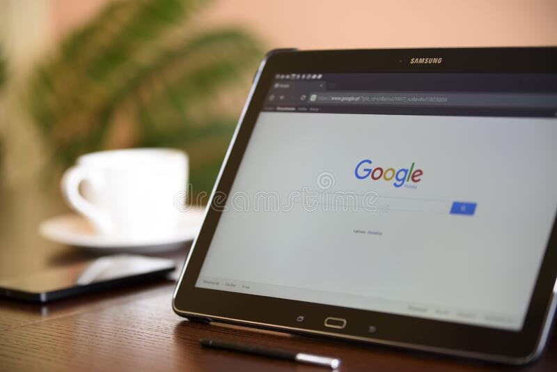 Black Samsung Tablet on Google Page stock image