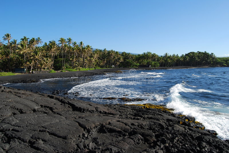 Download Black Sand Beach stock image. Image of black, punaluu - 6769399