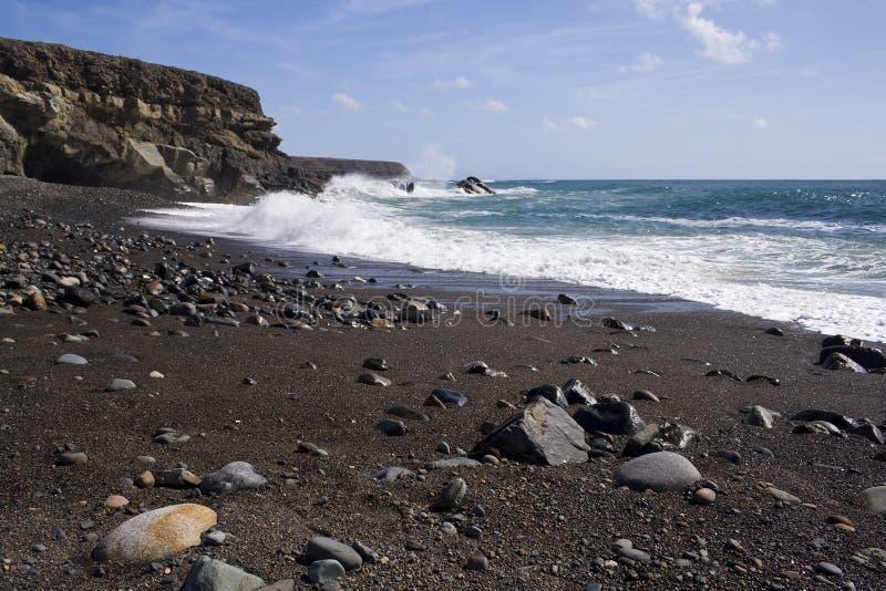 Download Black Sand Beach And Cliffs, Fuerteventura Stock Image - Image of pebbles, cliffs: 6705315