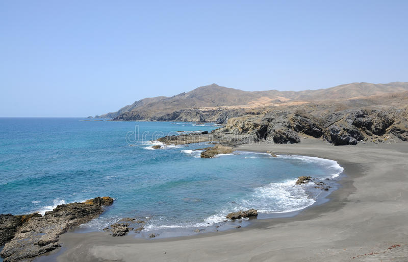Black sand beach ,Fuerteventura Spain royalty free stock photo
