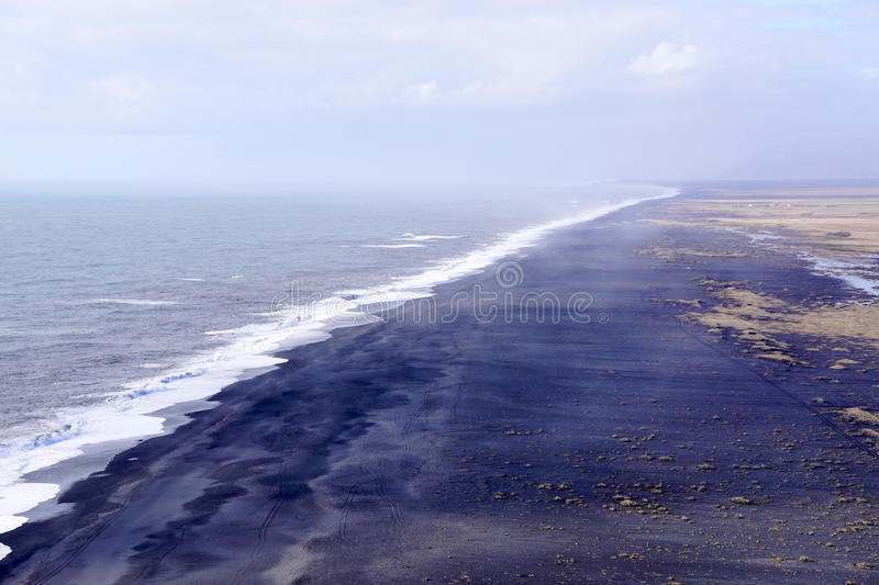 Black sand beach. In Iceland royalty free stock images