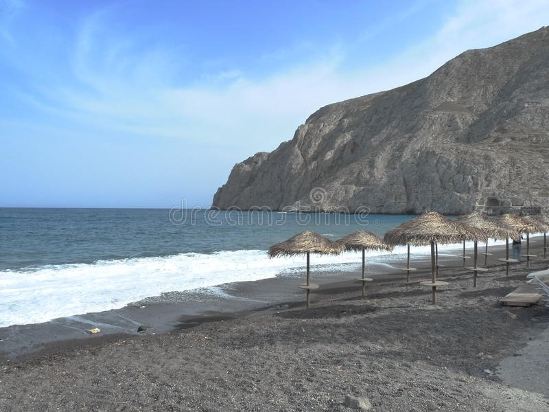Black sand beach island royalty free stock image