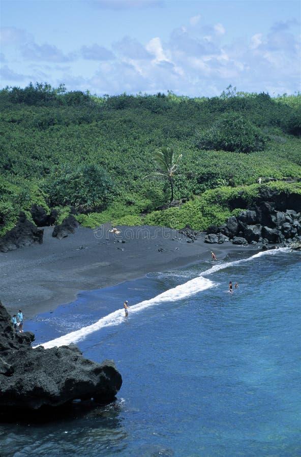 Black Sand Beach, Maui stock photos