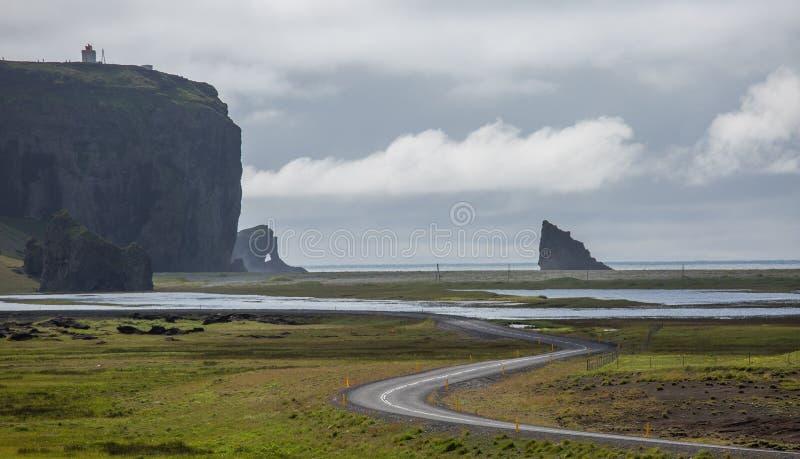 Black Beach, Vik, Iceland. The black sand beach of Reynisfjara in Iceland stock images