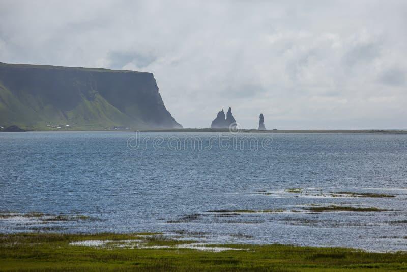 Black Beach, Vik, Iceland. The black sand beach of Reynisfjara in Iceland stock image