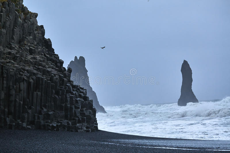 The black sand beach of Reynisfjara in south of Iceland stock photography