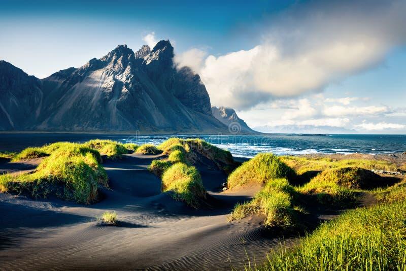 Black sand dunes on the Stokksnes headland on southeastern Icelandic coast with Vestrahorn (Batman Mountain). Black sand dunes on the Stokksnes headland on stock image