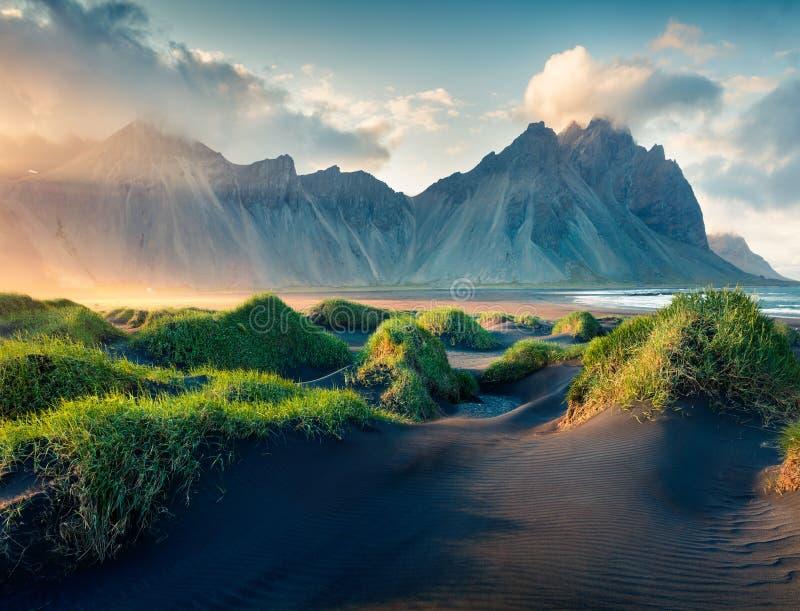 Black sand dunes on the Stokksnes headland. On southeastern Icelandic coast. Iceland, Europe. Artistic style post processed photo royalty free stock images