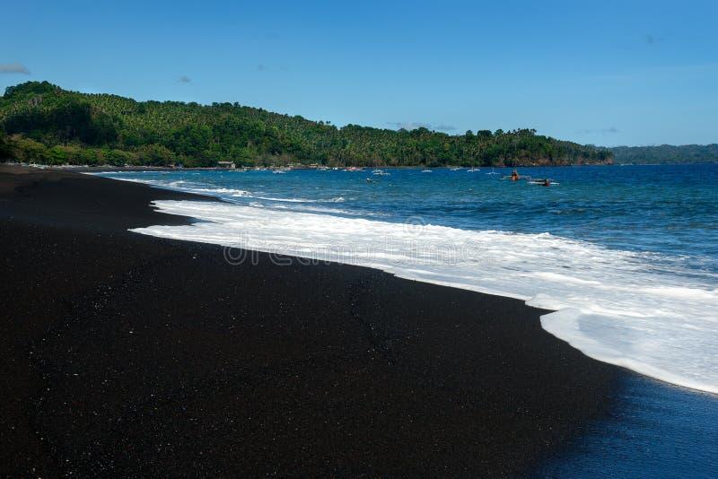 Black sand volcanic beach stock photo. Image of sunny ...