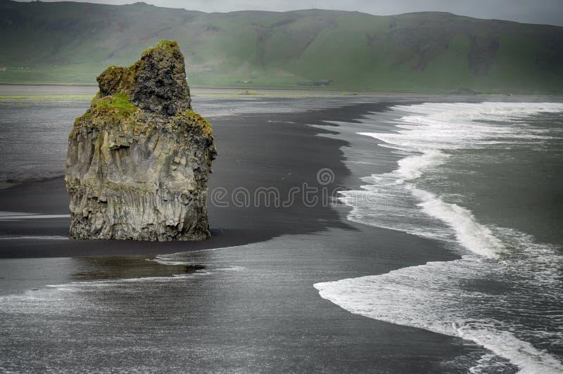 Black sand and white waves on Iceland coast stock image